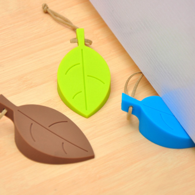 Door Stopper For Baby Safe Decorative Door Wedge Leaves Shape Design Silicone Anti-pinch For Everyday Use 13