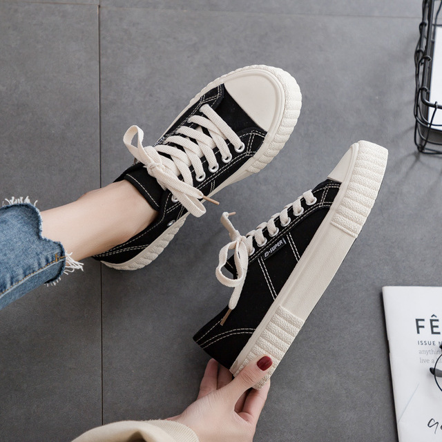 Sapatilhas femininas sapatos de lona primavera tendência casual apartamentos sapatilhas femininas nova moda conforto cor sólida sapatos vulcanizados