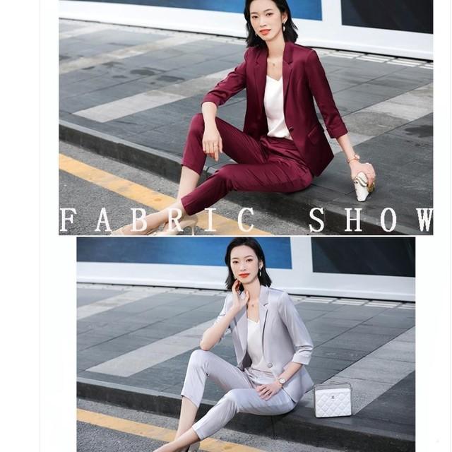 2021 Summer Professional Women Pants Suit Elegant Two Piece Fashionable Style Shawl Collar Office Lady Blazer Set Plus Size 4xl 5