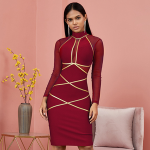 Image 5 - Spring Green Long Sleeve Bodycon Bandage Dress Women Sexy Hollow Out Mesh Dresses Autumn Celebrity Evening Runway Party Vestidos