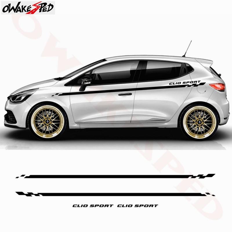 Car Body Waist Line Decor Stickers Sport Stripes Lattice Auto Both Side Door Vinyl Decal Sticker For Renault Clio 1 2 3 4