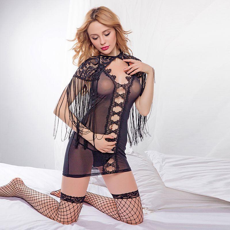 Lingerie Femme Sexy Hot Erotic Porno Underwear Black Transparent Temptation Erotic Nightdress Tassel Shawl Sex Sleepwear