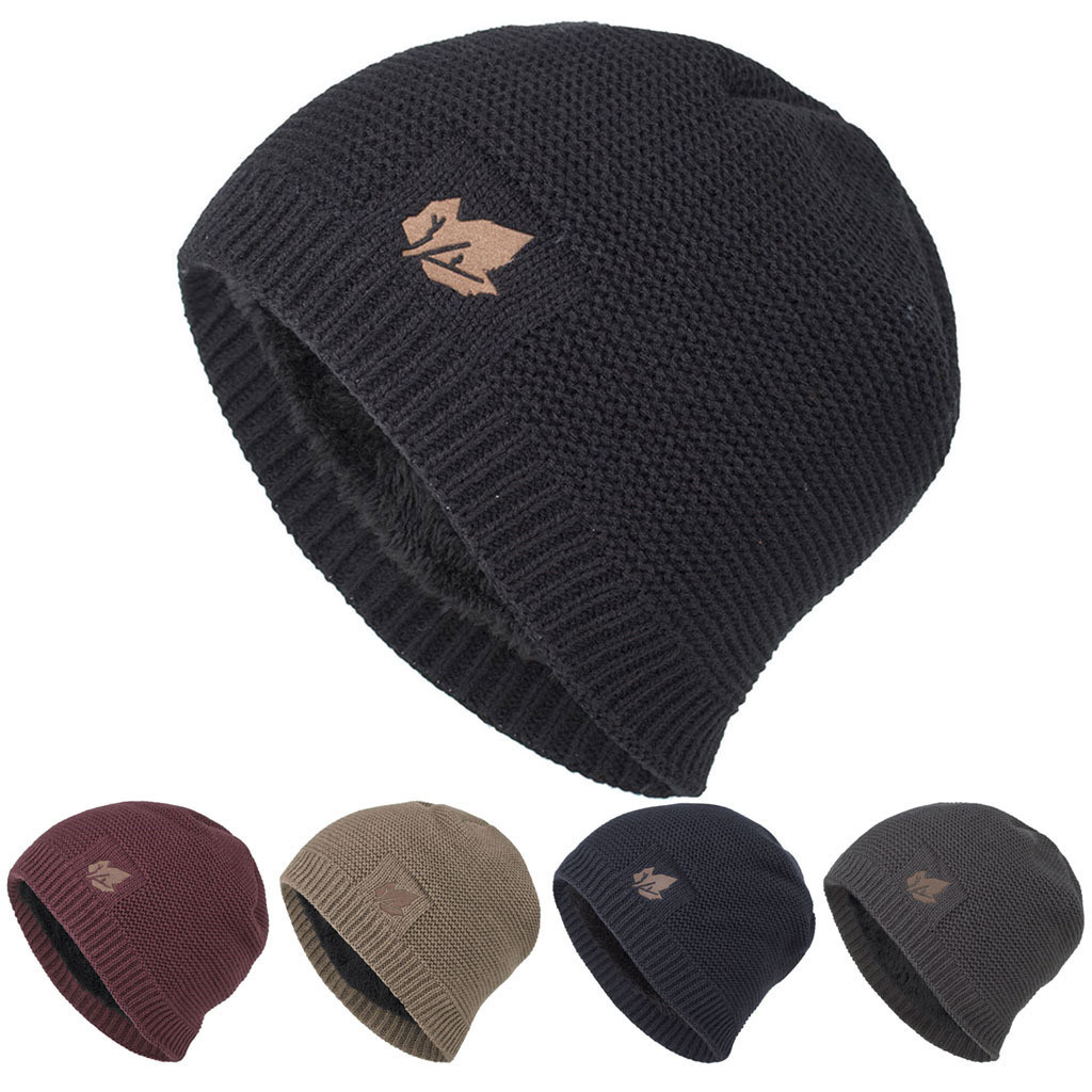 2020 New Unisex Fleece Lined Beanie Hat Knit Wool Warm Winter Hat Thick Soft Stretch Hat For Men And Women Fashion Hats & Caps