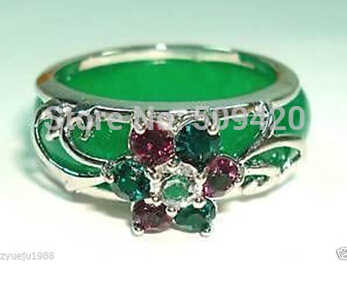Gratis verzending Charmant Green Jade Crystal Flower Ring 8 #