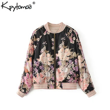 Boho Vintage Floral Print Bomber Jacket Coat Women 2020 Fashion O Neck Long Slee