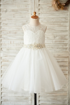 Flower Girl Dress with Sequined Sashes Ball Gown Scoop Knee-length Sleevelss Lace Tulle Zipper-up
