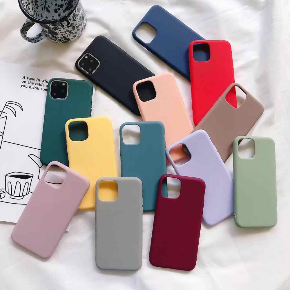 Para iPhone XS 11 Pro MAX XR X caja de Color caramelo de silicona Color caramelo fundas de teléfono para iPhone 5S 5 se 7 6 6S 8 Plus cubierta suave TPU