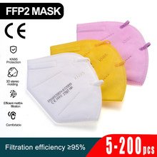 5-200 pces kn95 máscaras ffp2mask 5 camadas máscara boca reutilizável kn95 respirador fpp2 máscara protetora mascarillas máscara ce