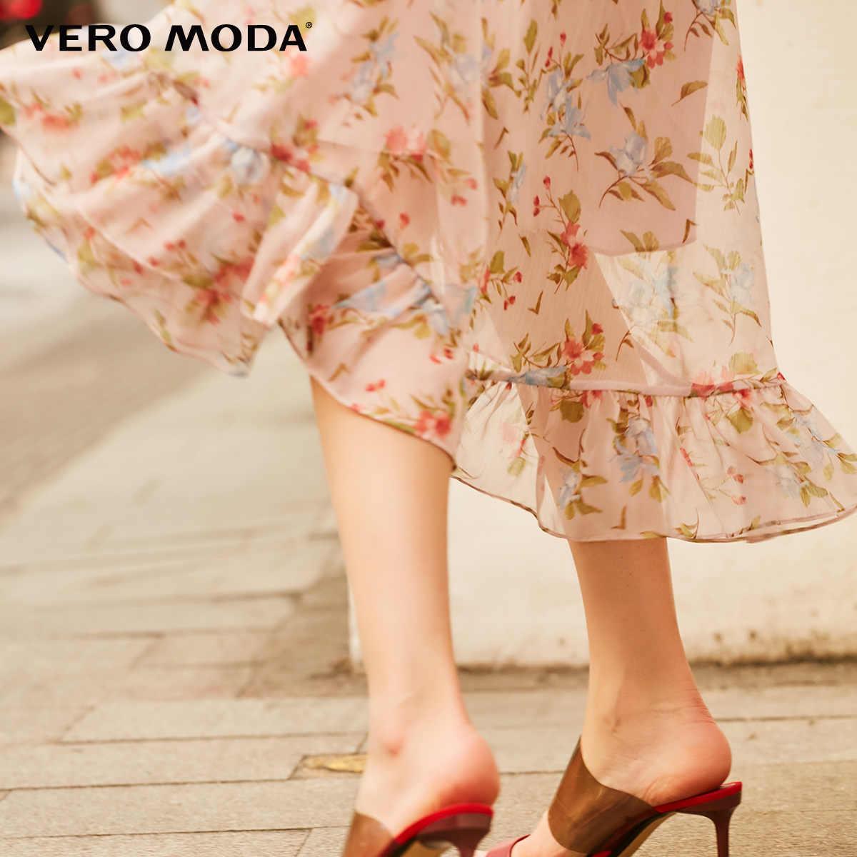 Vero Moda 2019 Новое поступление печатное ТРАПЕЦИЕВИДНОЕ длинное шифоновое платье для отдыха | 31917C546