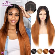 Miękkie w dotyku włosy 4 #215 4 zamknięcie peruka Ombre ludzkich włosów peruki dla czarnych kobiet zamknięcie koronki peruka brązowy bordowy Remy brazylijski peruka z prostymi włosami tanie tanio Soft Feel Hair Średni Proste Koronki zamknięcie peruka Remy włosy Ludzki włos Pół maszyny wykonane i pół ręcznie wiązanej