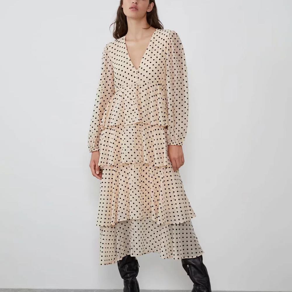 ZA New Women Dress Polka Dot Ruffle Pleated Lantern Sleeve V Neck Chic Ladies Elegant Vocation Style Long Dress Woman Clothes