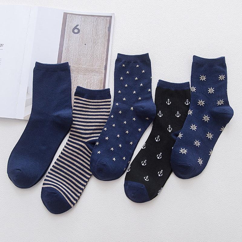 5 пар/лот, полосатые хлопковые носки с якорем, мужские синие длинные носки, забавные носки для мужчин, осень, зима, Calcetines hombre