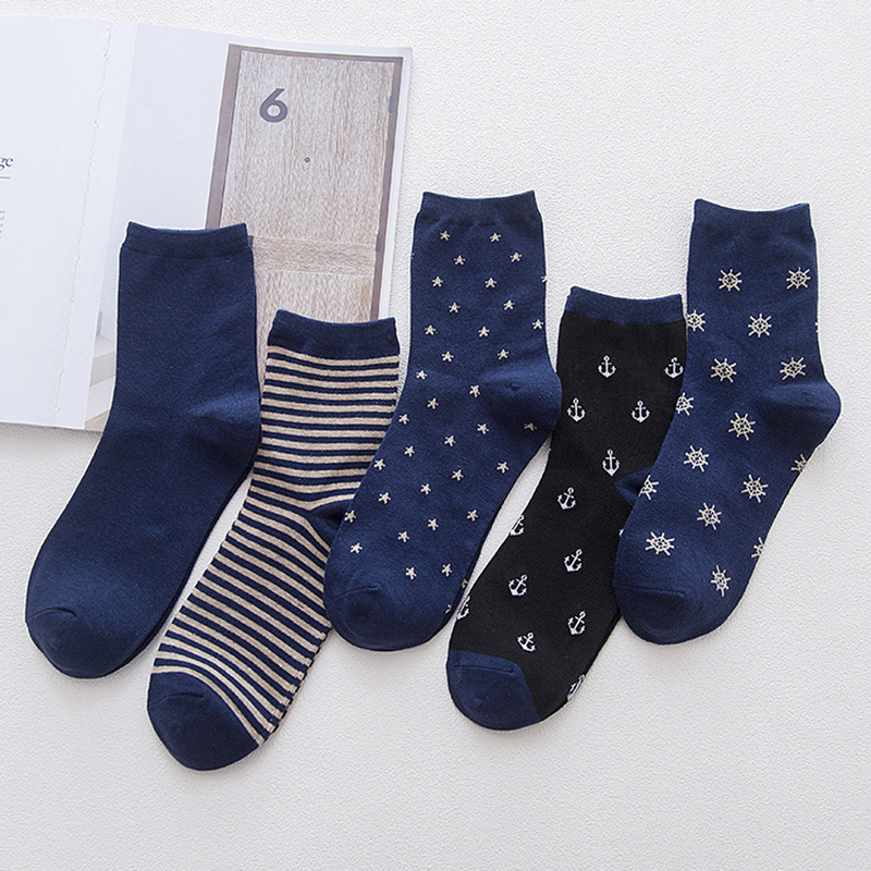 5Pairs/lot Anchor Stripe Cotton Socks Men Blue Long Socks Crew  Funny Socks Man Autumn Winter Calcetines Hombre