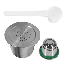 Coffee-Capsules Most-Nespresso-Machine with Spoon for Refillable Stainless-Steel