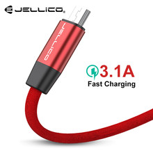 Jellico 100CM Hi-Tensile Micro USB Cable for Samsung Xiaomi LG USB 3.1A Fast Charging Data Braided Charger Android Mobile Phone(China)
