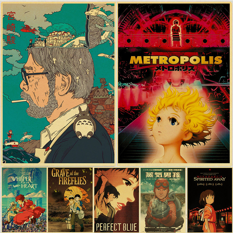 Fans Collection Poster Anime Movie Retro Poster Miyazaki Comic Picture Home Decor Spirited Away Wall Art Posters