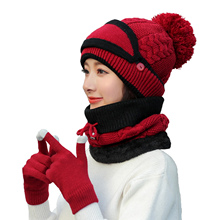 Gloves Hat Womens Scarf Face-Cover Knitted Thickend Outdoor Winter Newest 4pcs