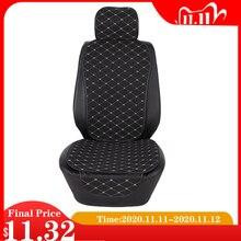Funda de asiento delantero para coche con respaldo cubierta de asiento de lino transpirable Universal, protección de cojín, alfombrilla, ajuste de asiento automático, accesorios interiores