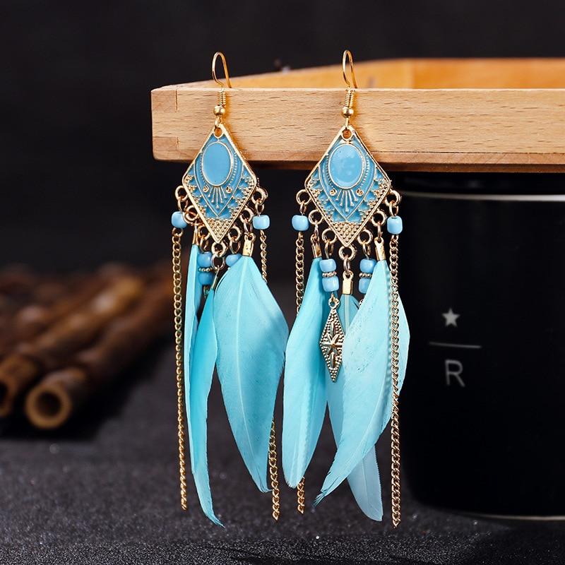 Женские длинные серьги-подвески в виде перьев, голубого цвета