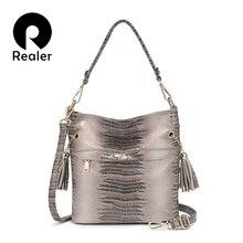 Женская сумка мешок со змеиным узором и кисточками
