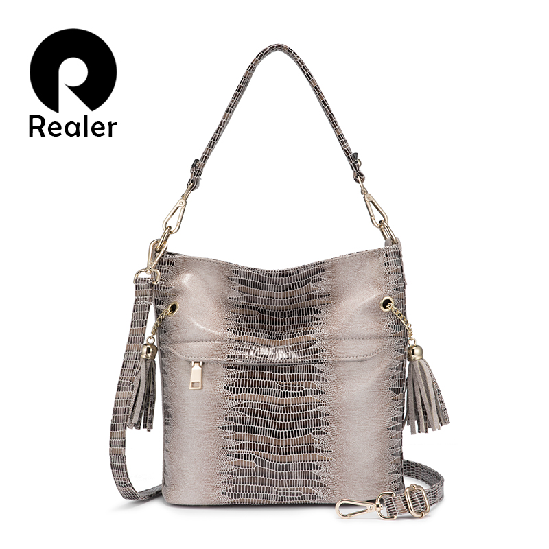 REALER Women Handbag Shoulder Bag Femalecrossbody Bags For Women 2019 With Tassels Serpentine Pattern Bucket Bag For Ladies