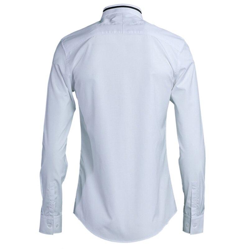 Новинка 2018, мужские рубашки с воротником и вышивкой, тонкая работа, сплошной цвет, европейский и американский стиль, облегающий крой, длинны... - 2
