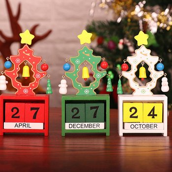 Christmas Calendar Woodiness Tabletop Decoration Office Home Furnishing Ornament Time Record Christmas Gifts image
