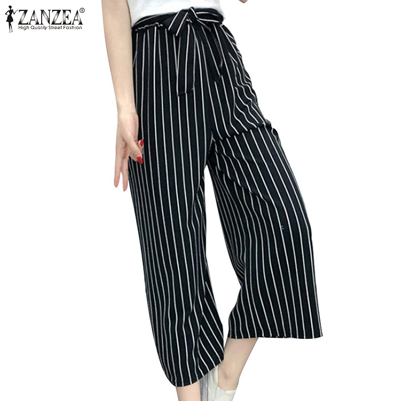 Vintage Summer   Wide     Leg     Pants   Women's Check Trousers 2019 ZANZEA Mid Waist Casual   Pant   Female Striped Pantalon Plus Size Palazzo