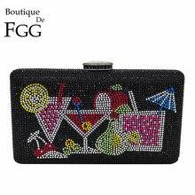 Boutique De FGG éblouissante cristal femmes soirée pochettes boîte sacs à main diamant Cocktail embrayage De mariage mariée sac à main sac