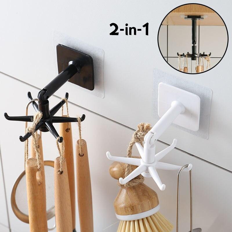 Rotating Hooks Kitchen Accessorizes 360 Degree Rotatable Storage Rack Hanger Household Bathroom Wall Mounted Key Hooks Organizer