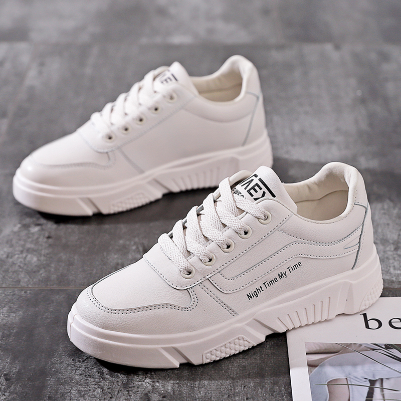 Women Sneakers White All Match Basic Style 35-40 Leather Shoes Casual Girls Flat Heel Spring Summer Shoes Must Have Trainers
