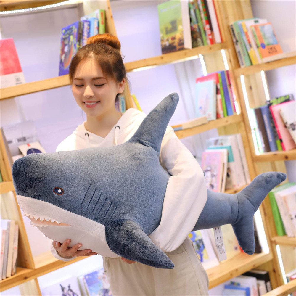 80-140cm Big Size Funny Soft Bite Shark Plush Toy Stuffed Marine Animal Doll Pillow Appease Cushion Gift For Children Kids Girls