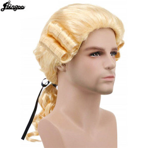 Image 5 - Ebingoo Grey Black White Lawyer Judge Baroque Curly Male Costume Wigs Deluxe Historical Long Synthetic Cosplay Wig for Halloween