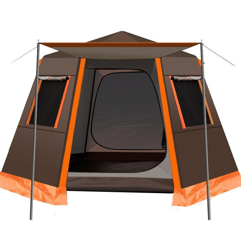 UV altıgen alüminyum direk otomatik açık kamp vahşi büyük çadır aile  seyahat 4 6Persons tente bahçe Pergola|Çadır| - AliExpress