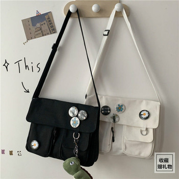 Парусиновая сумка с диагональным крестом, Молодежная модная повседневная версия, Женская Большая вместительная сумка на плечо, одноцветна...