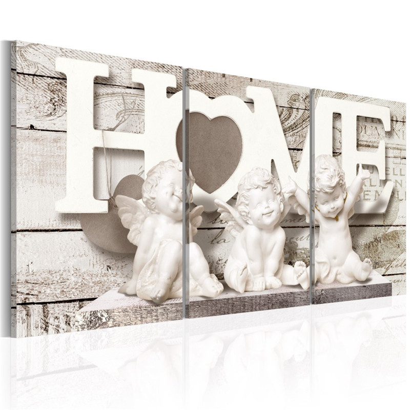 Framed Heavenly Home Canvas Poster Decorative Picture Ready To Hang Home Text Quote Print Painting Living Room Decoration(China)