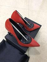 red elegant sex women high heel shoes genuine patent leather Women party Shoes letter High Thin Heels Pointed Toe Pumps