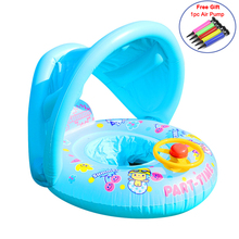 Kids Swimming Circle Swimtrainer Pool Inflatable Buoy Circle Baby Float with Sunshade Seat Swimming Pool Toys Sport Accessories