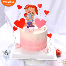 Romantic Love Heart Shaped Lovers Cake Topper Valentines Day Theme Wedding Anniversary Decoration Party Supplies