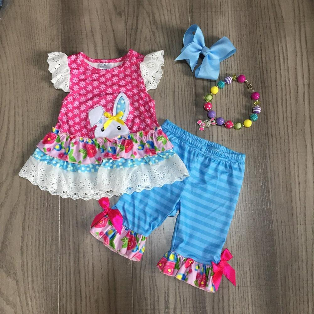 Baby Girls Easter Outfits Girls Polka Dots Pink Shirt Lace Hem Top With Bunny Print Blue Capri Pant Girls Outfit With Accessory