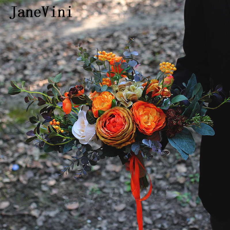 JaneVini Vintage Wedding Orange Bouquet For The Bride 2020 Handmade Silk Roses Bridal Flowers Autumn Wedding Bouquet Accessories
