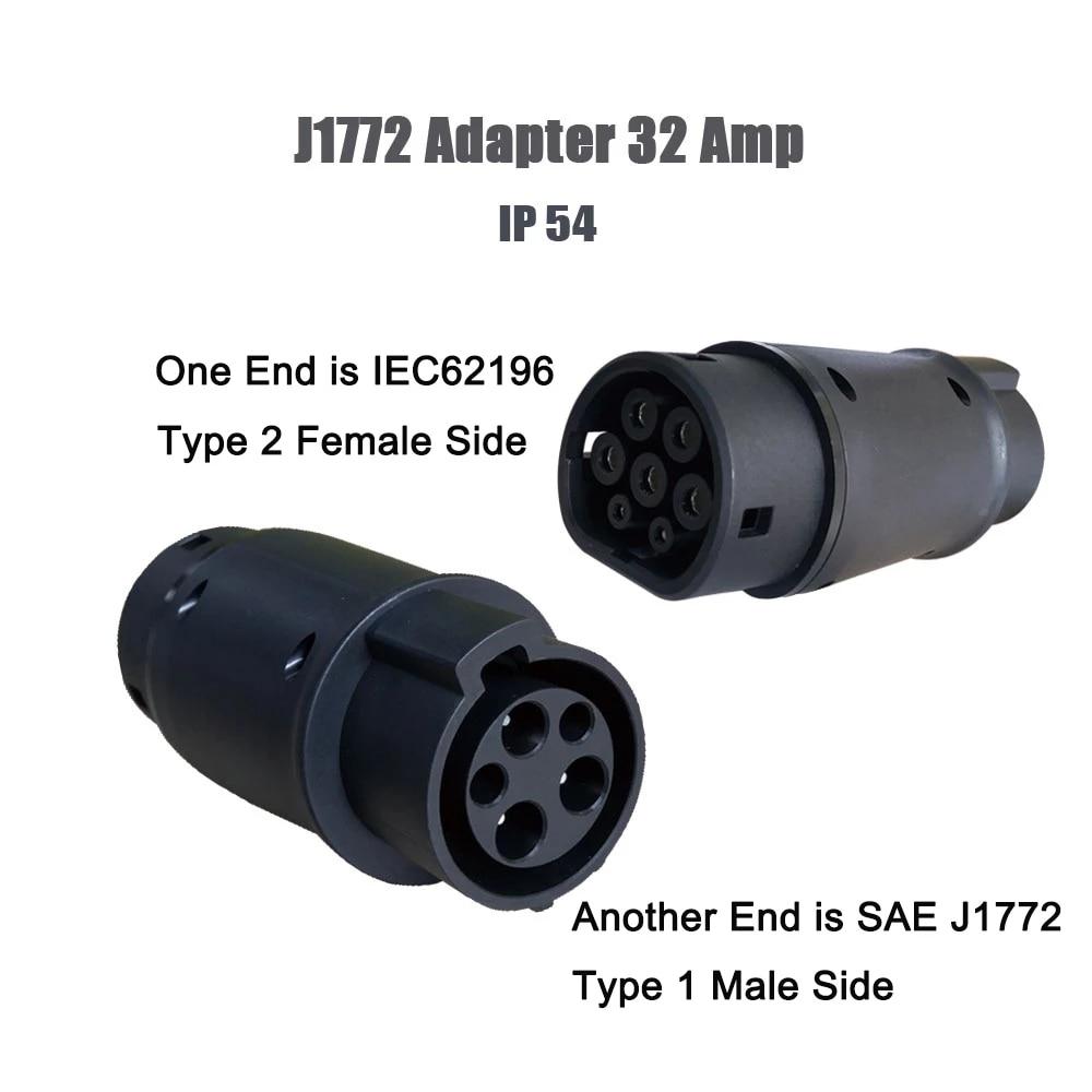 Conector SAE j1772 cargador de coche ev tipo 1 y tipo 2 adaptador IEC 62196-2 adaptador de carga de vehículo eléctrico