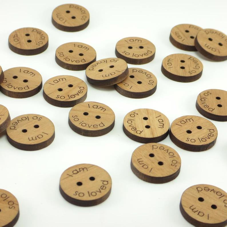 Personalized Wood Buttons . Custom Engraved Tags