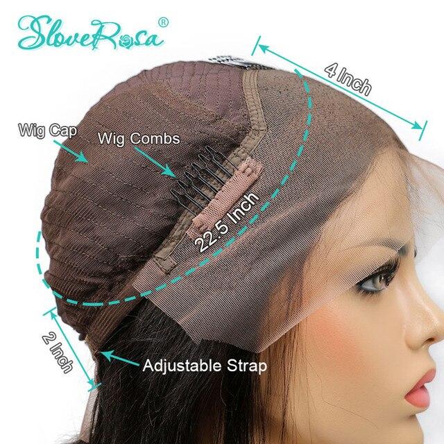 Glueless 130% 150% 180% gęstość długie proste 13x4 koronki przodu włosów ludzkich peruk może przez barwione peruwiańskie włosy Remy pełna koniec Slove Rosa