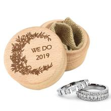 2019 New Wooden Wedding Ring Box Creative Mini Holder Jewelry Boxs Display Romantic Supplies