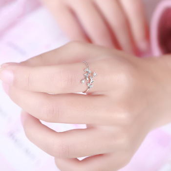 Fancy Leaf Branch Diamond 18K Genuine Real True Solid Gold Rings Bands for Women Girl Elegant Upscale Office Jewelry Gift Party 4