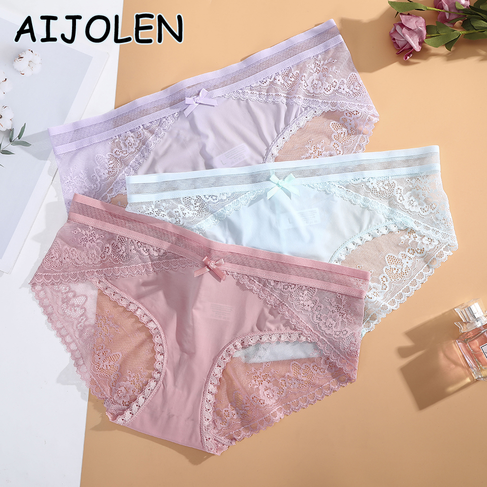 AIJOLEN Solid Color Black Lace Panties Hollow Sexy Thin Women's Underwear Low Waist Bow Cute Underpants