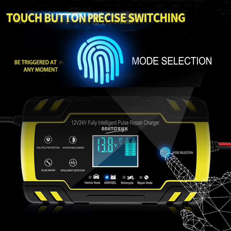 12V 8A Otomatis Mobil Charger Power Pulse Perbaikan Charger Kering Basah Memimpin Asam Baterai-Charger Digital LCD Display
