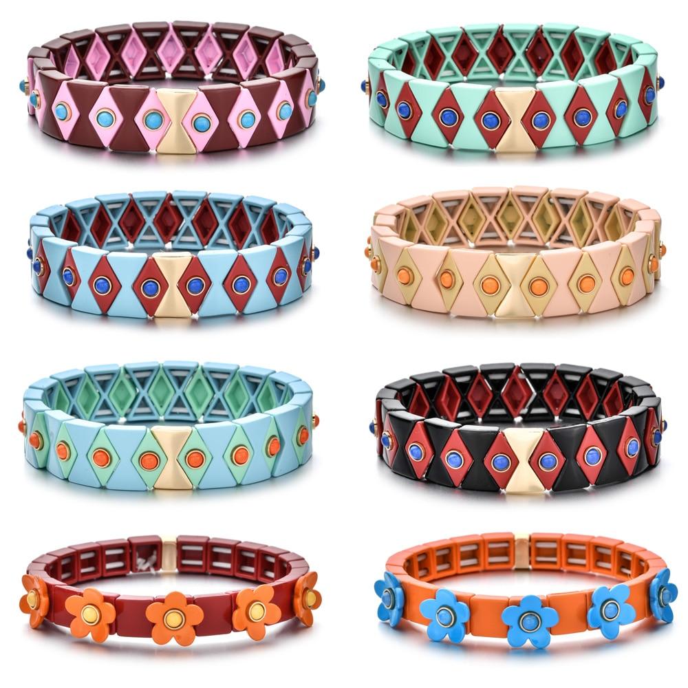 2020 Hot Evil eye Enamel Stretch Bracelets for Women Stacking Casual Bracelet Tide Brand Diy Rainbow Tile Beads Bracelet