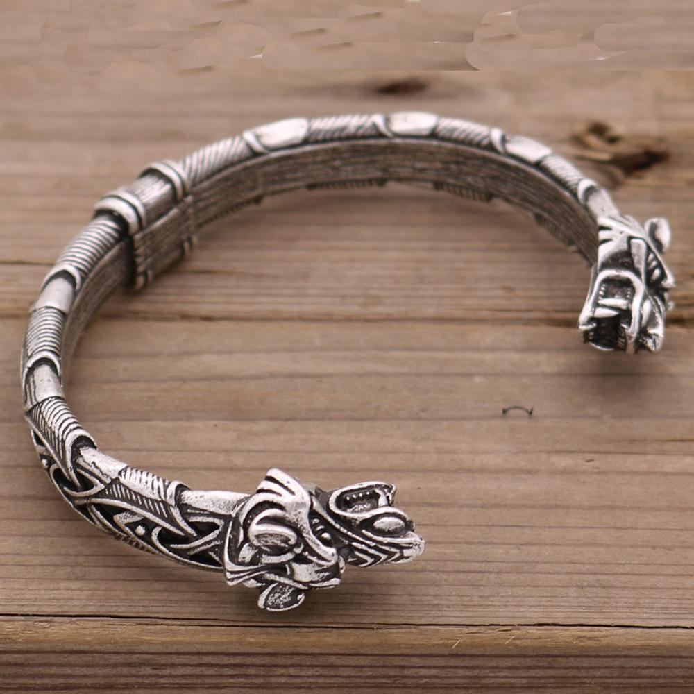 1pcs Wolf Head Bracelet Viking Bracelet and Bangle Wolf Head Bracelet For Men and Women Talisman Jewelry